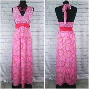 Hot Pink Halter Tie Top Maxi Dress Fully Lined